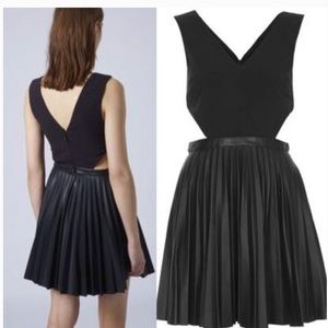 Topshop cutout faux leather pleated dress